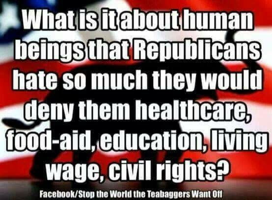 Well, what they hate the most is they aren't super wealthy and contributing to the Republican Politician Retirement Plan.