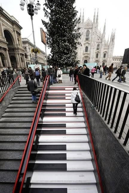 Milan, Italy Piano stairs sensitive to light and climate, too!