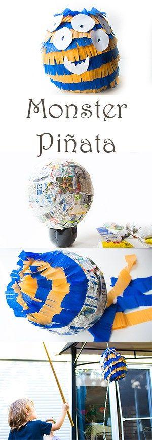 DIY Monster Pinata selber machen - viele Ideen für Monster Kindergeburtstag - Deko, Rezepte, Spiele