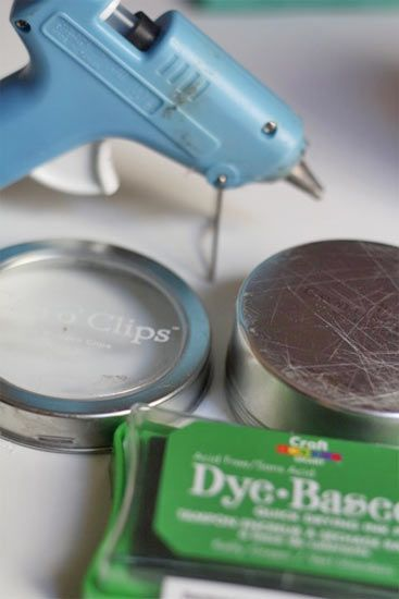 DIY Stamping fun. Use glue gun to draw design on tin can