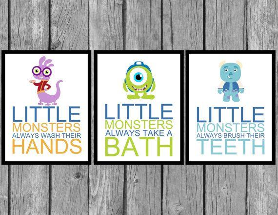 children 39 s bathroom artwork kids room decor kids bathroom wall art wash your hands brush your. Black Bedroom Furniture Sets. Home Design Ideas