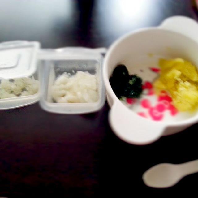 うどん、さつまいも、小松菜、梨 - 2件のもぐもぐ - 離乳食 初期 by るか