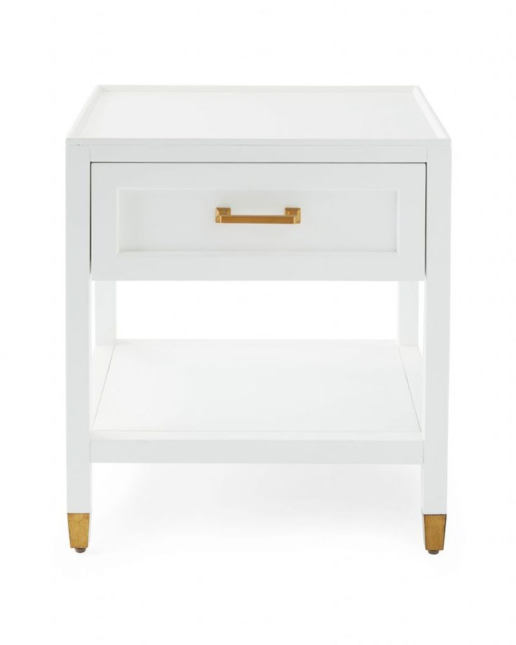White Drawer Brass Nightstand