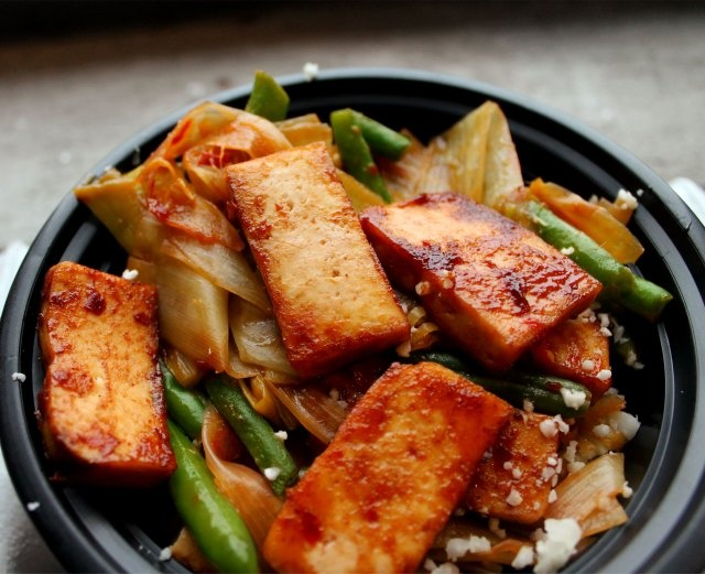 Sweet & Smoky Tofu Over Spicy Leek Ribbons and Green Beans - Vegan