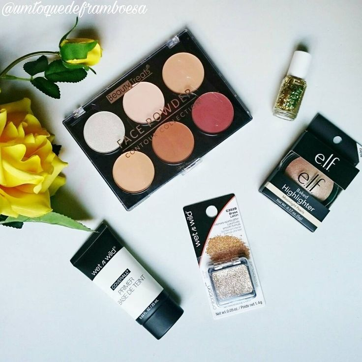 Comprinhas de maquiagem com a Marcas e Beleza: Beauty Treats Face Powder Contour Palette; Essie nailpolish Rock at the Top; Elf Baked Highlighter Moonlight Pearl; Wet'n Wild Glitter; Wet'n Wild Coverall Primer. #maquiagem #makeup