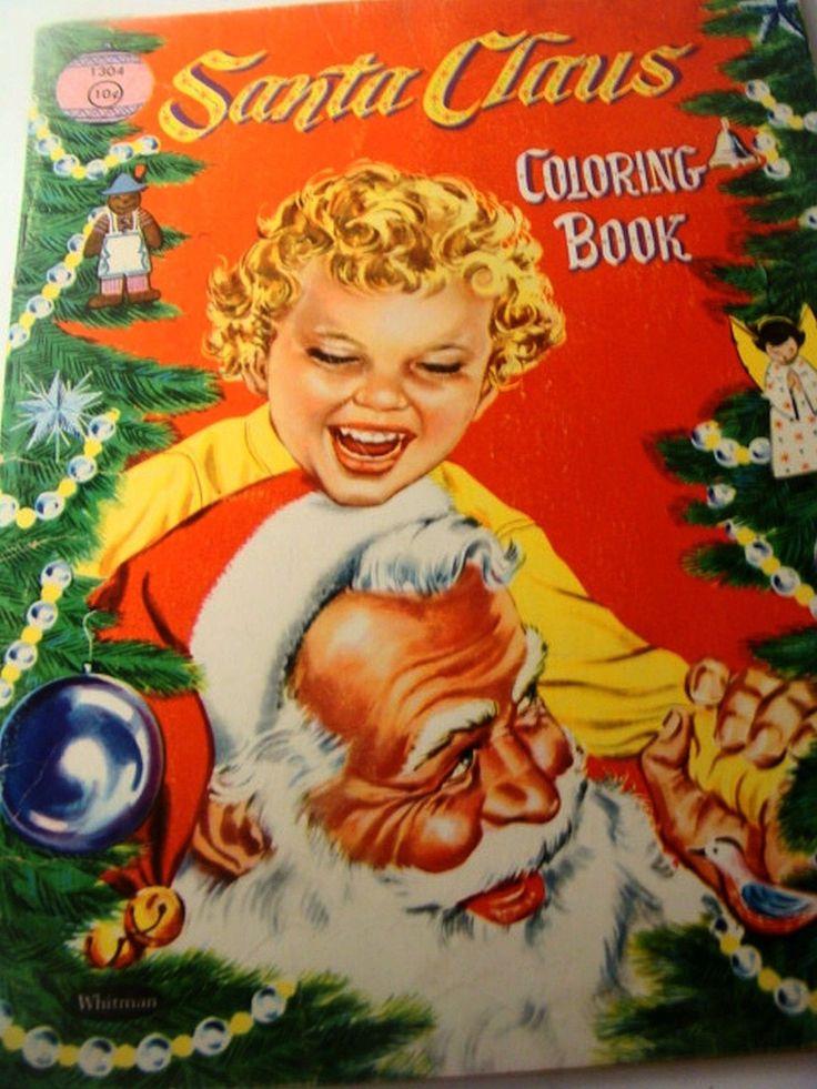 1950 Christmas Toys For Boys : Vintage christmas santa coloring book kid activity whitman