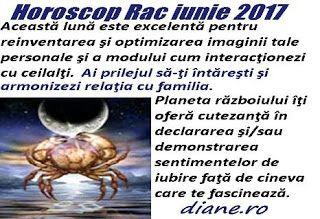 În horoscopul Racului iunie 2017 prevalează şansa îmbunătăţirii felului cum eşti perceput şi înţeles de cei din preajmă, cea de a-ţi pune în...