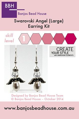 Earring Kit - Swarovski Angels (Large) - Silver Findings - Banjos Bead House
