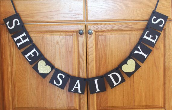 Gold glitter Hearts She Said Yes Banner custom by BannerBakery wedding wedding banner photography photoprops photo booth wedding ideas tips wedding planning engaged cricut cricut explore handmade homemade cute banner craft modern wedding bride bridal shower bride to be
