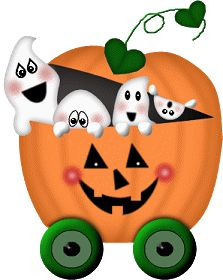 CUTE, HALLOWEEN PUMPKIN COACH AND GHOST CLIP ART