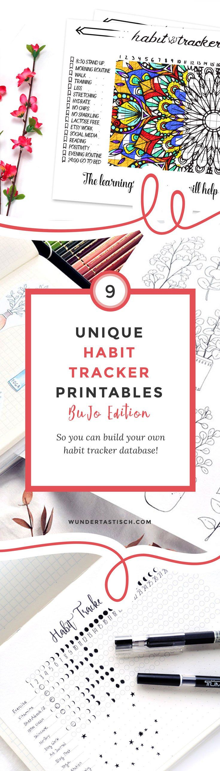 9 unique layouts to track habits in your bullet journal you can use as inspiration. Or feel free to purchase and download them as printables to save even more time. These unique trackers were designed by a group of amazing bullet journal enthusiasts and will beautify your bujo instantly!