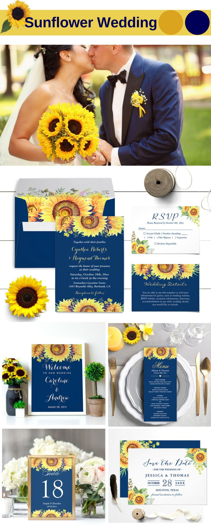 Best 700 Sunflower Wedding Invitations Images On Pinterest