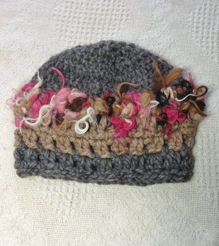 Art Yarn Hat - Grey, Tan, Pink, $35.00