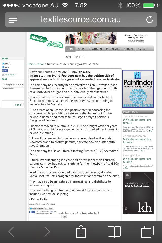 Fourzero is proudly Australian Made textile source news
