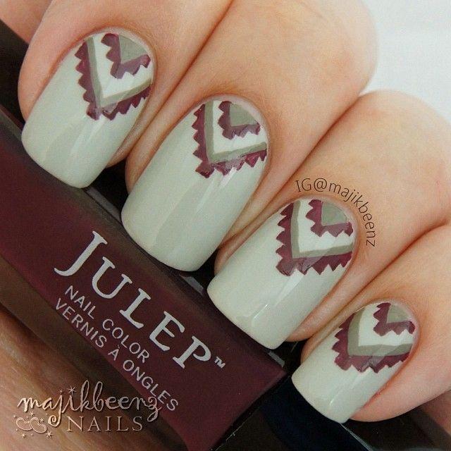 Nails / Nailart - Tribal mani using all Julep polishes: Winter, Aisha and Winona --- Instagram @majikbeenz