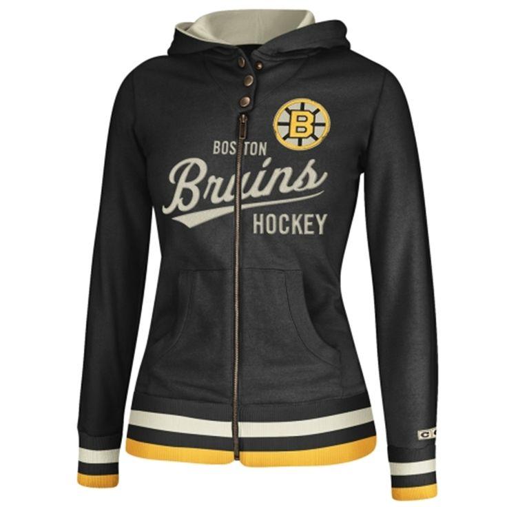 Women's Boston Bruins Reebok Black CCM Full Zip Hoodie