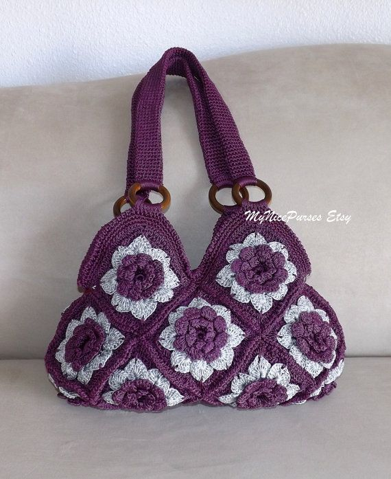 Crochet Purple and Grey Floral granny square by MyNicePurses