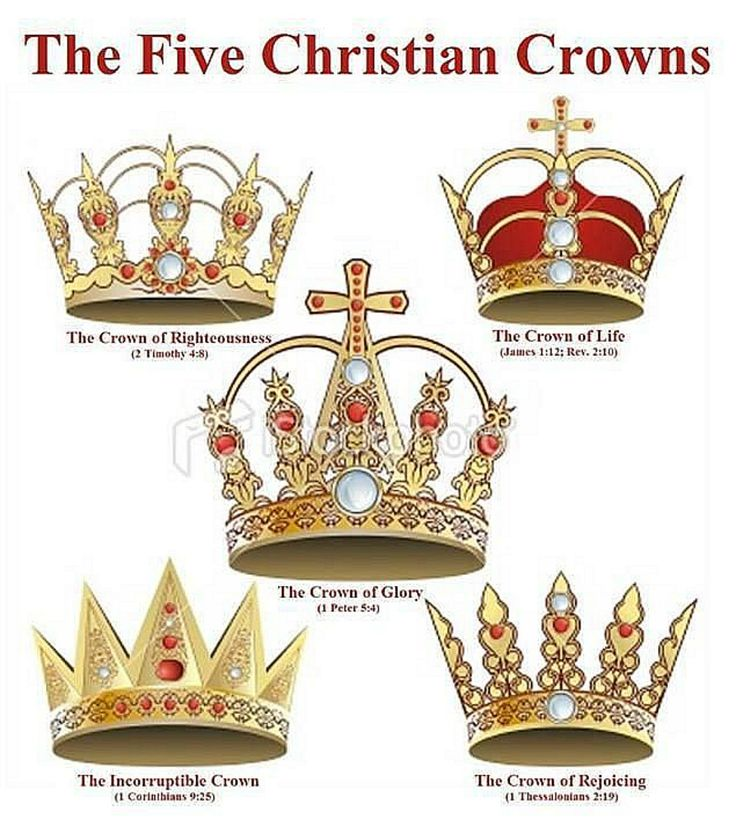 CROWNS: How many for you?   Crown of Righteousness - 2 Timothy 4:8...  Crown of Life - James 1:12, Revelation 2:10 ... Crown of Glory - 1 Peter 5:4 ... Incorruptible Crown- 1 Corinthians 9:25 ... Crown of Rejoicing - 1 Thessalonians 2:19 ...