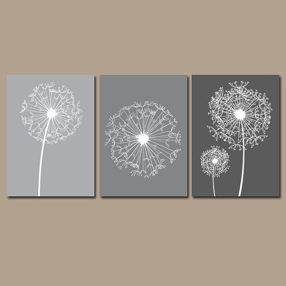 Dandelion Wall Art Gray Bedroom Wall Art Bathroom By Trmdesign