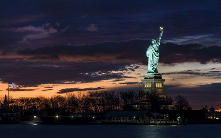 Download wallpapers Statue of Liberty, New York, Manhattan, Monument, Sculpture, Sights, USA