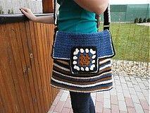 Kabelky - Háčkovaná taška Modro-hnedo-béžovo-čierna - 3894750_