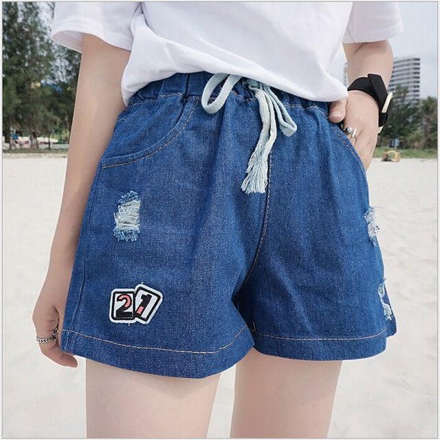 Estilo do verão Mulheres Shorts Jeans Casual Cintura Alta Com Cordão Shorts Jeans Rasgado calças de Brim Curtas Das Mulheres Shorts Soltos Do Vintage K909S