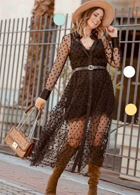 Details about ZARA WOMAN POLKA DOT TULLE DRESS A-LINE BLACK 2731/057 4437/069 NEW S119