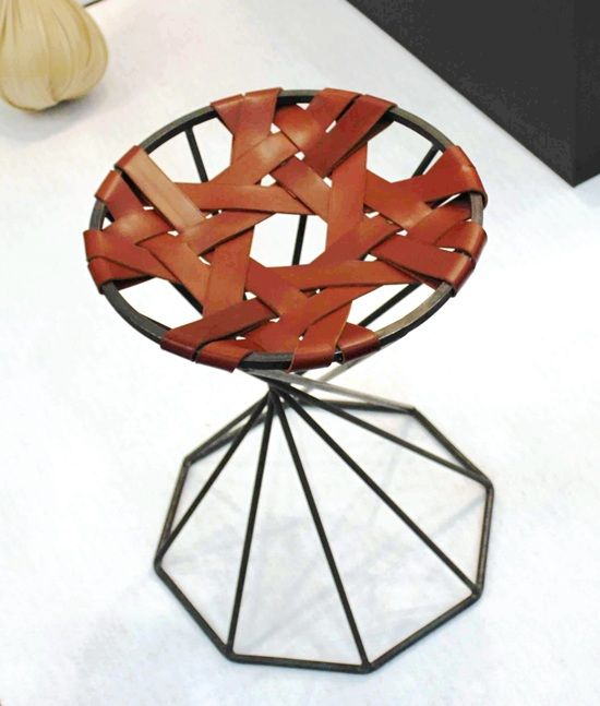 Formex leather weave stool
