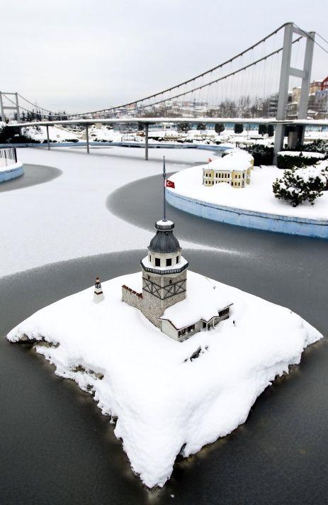 Snow at miniature city, Turkey