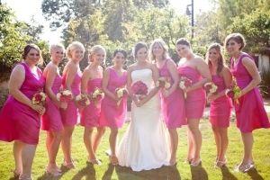 David's Bridal Pink F14212 Begonia Dress $60    Morgan's Color is Begonia :) so my color!!!!