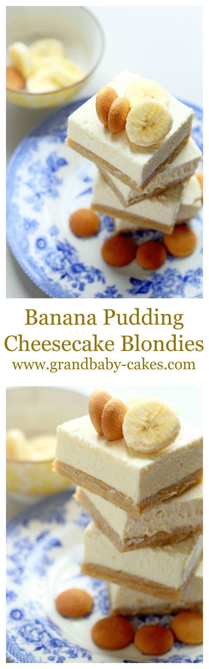 Banana Pudding Cheesecake Blondies and a wonderful GIVEAWAY!! ~ http://www.grandbaby-cakes.com