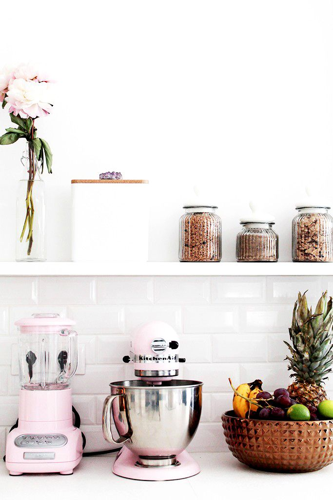 Before And After: A Feminine Kitchen Makeover. Pink Kitchenaid MixerPink ...