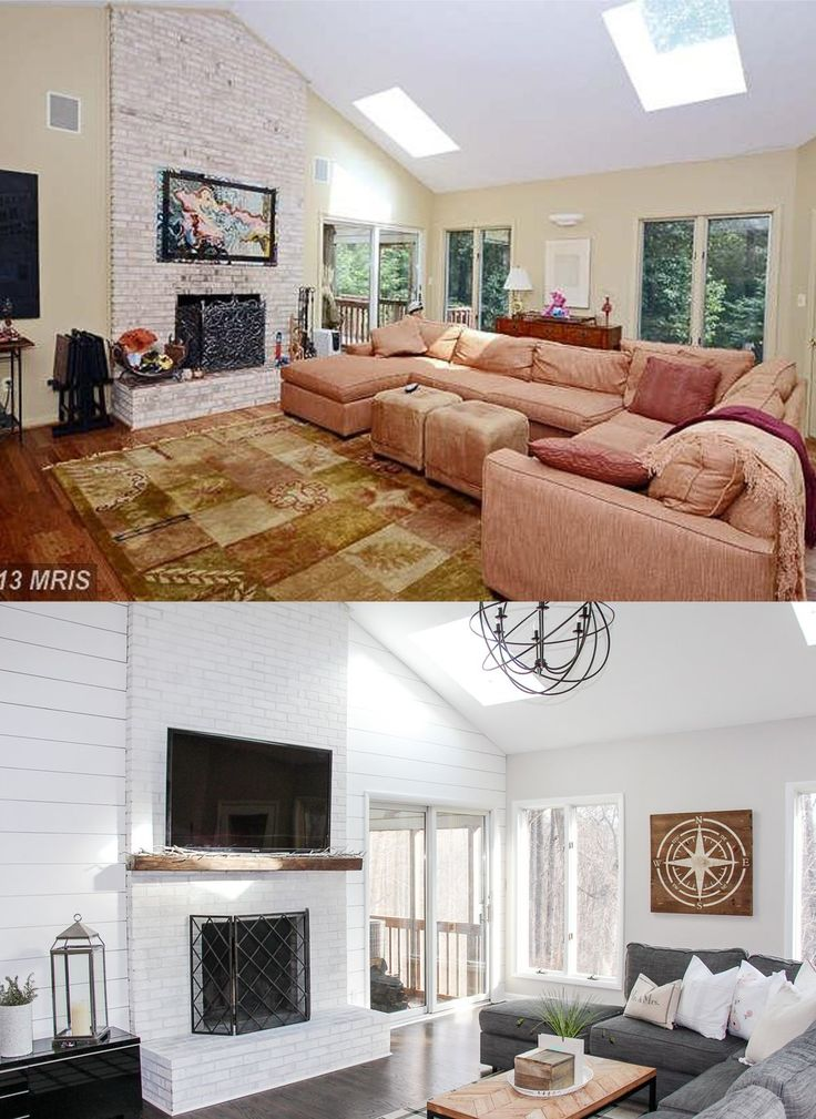 Living Room Renovation Before and After | Vaulted Ceiling Living Room | Shiplap Wall Living Room | Living Room Remodel Before and After | Shiplap around Fireplace | Living Room Remodel Ideas | Neutral Living Room Décor Ideas | Orb Chandelier