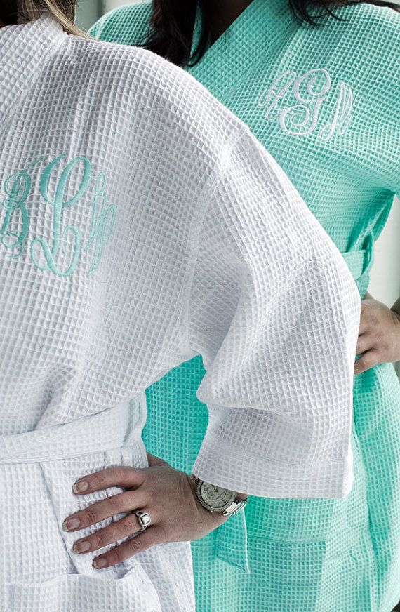 Mint Robe Monogrammed Bridesmaids Gifts waffle weave personalized embroidered