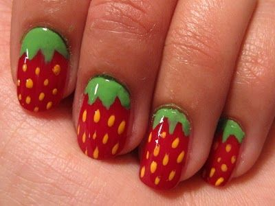 if I did have nails to paint.  I'd make 'em strawberries.  But then I'd bite them again so...