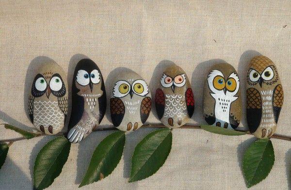 石趣部落原创的绘石头 猫头鹰家庭 6只