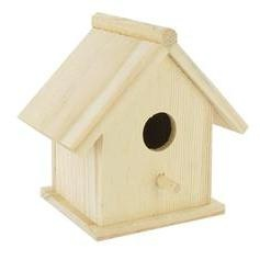 Unfinished Wood Traditional Birdhouse from hobby lobby