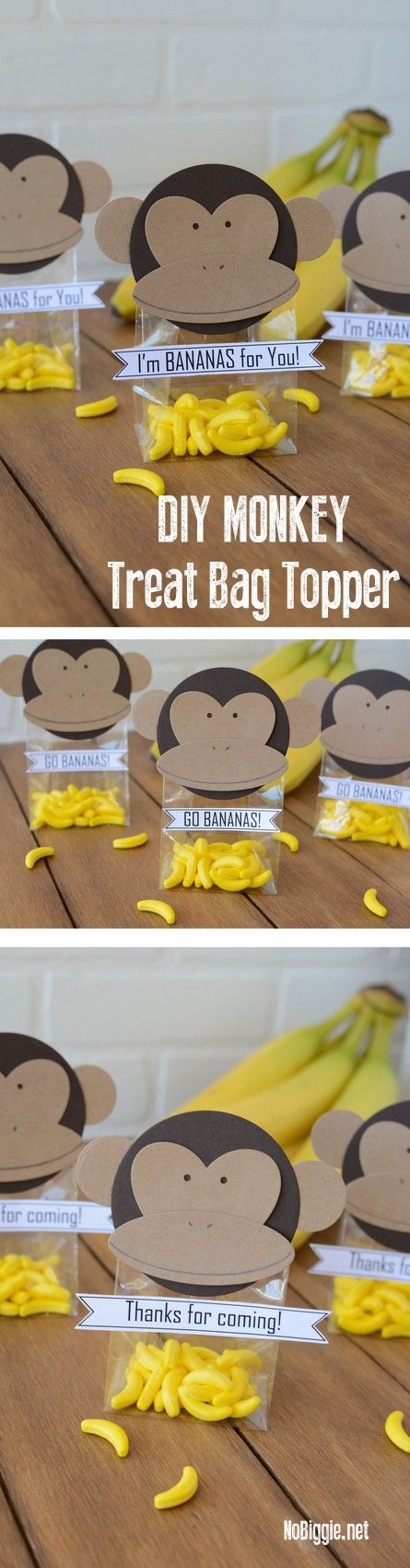 We're celebrating that Curious George is now streaming only on Hulu with these adorable DIY monkey treat bag toppers!  | NoBiggie.net