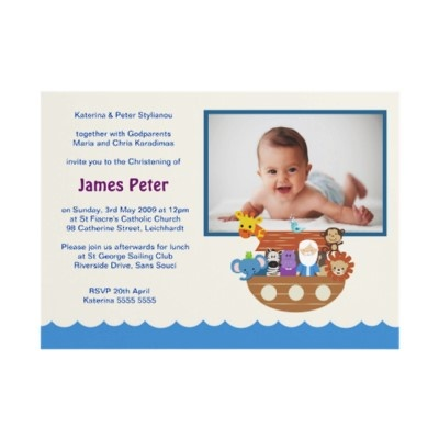 Noah's Ark Christening Invitations by Inviting Kids