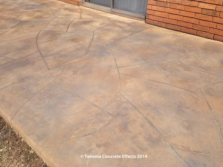 Stained Concrete Overlay On Back Patio To Model Natural Flagstone By Texoma  Concrete Effects.