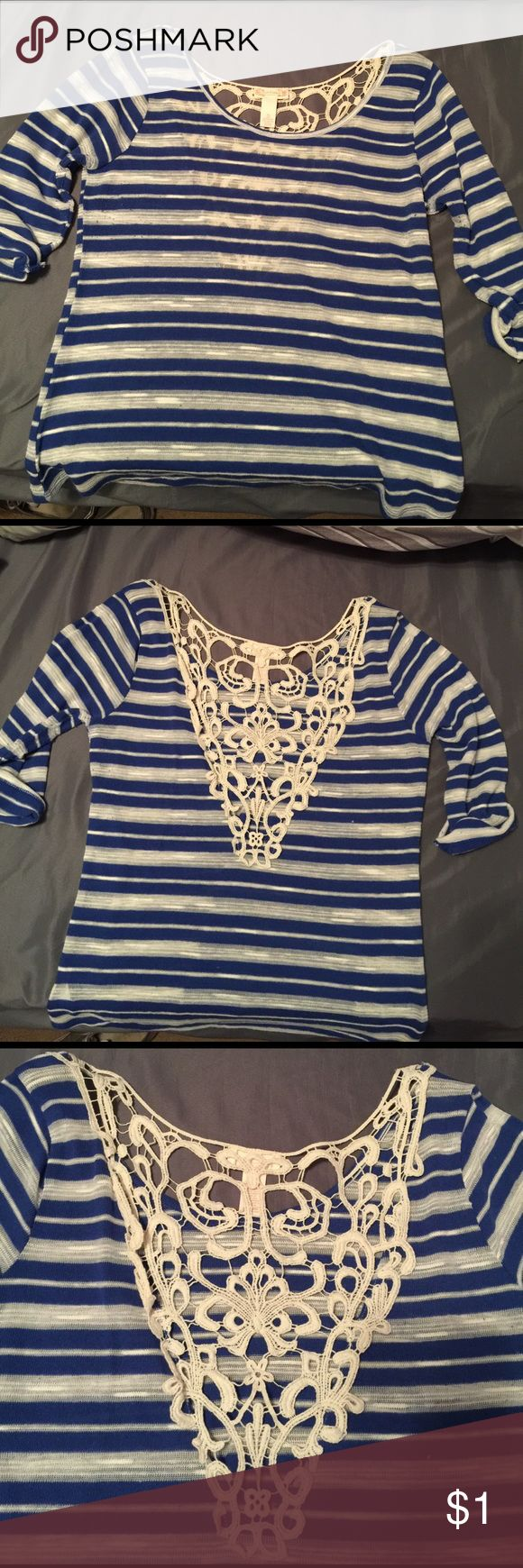 Junior's Red Camel Top Blue and white stripped top with plunging back and detailing on back Red Camel Tops Blouses