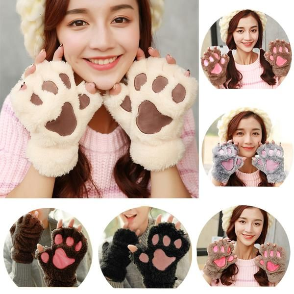 Claw Paw Mitten Plush Gloves Finger-less Half Gloves! gloves winter|gloves fingerless|gloves fashion|gloves diy|gloves leather|gloves long| gloves wedding|gloves warm