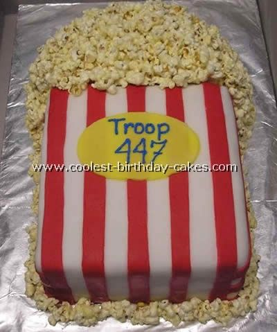 "made this for my daughter's 12th birthday.  Her choice.  She even helped create it.  Fun time.    ""Cute popcorn cake!"
