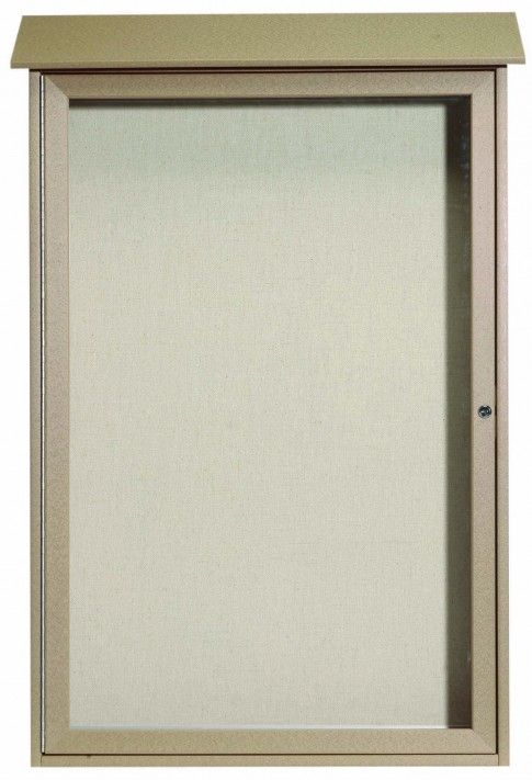 PLD4832-8. Weathered Wood Single Hinged Door Plastic Lumber Message Center with Vinyl Posting Surface. 48″ High x 32″ Wide
