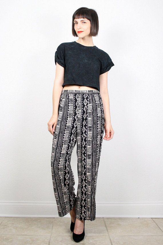 Vintage Black Tan Pants Boho Tribal Print Pants 1980s 80s Rayon Loose Bohemian Striped Slacks Wide Leg Pants Draped Harem Pants M Medium #vintage #etsy #80s #1980s #boho #ethnic #tribal #pants #slacks