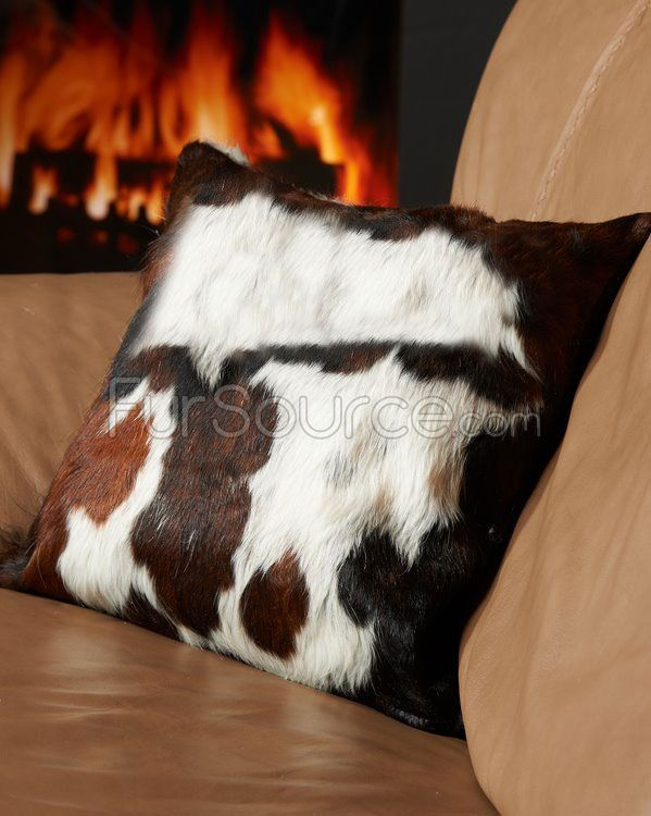 Tricolor White Cow Hide Pillow - Just bought for my #western living room decor!