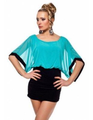 Teal Green Sheer Top Mini Dress