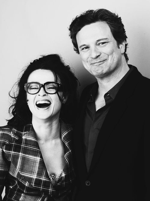 """Helena Bonham Carter and Colin Firth having fun after making """"The King's Speech""""."""