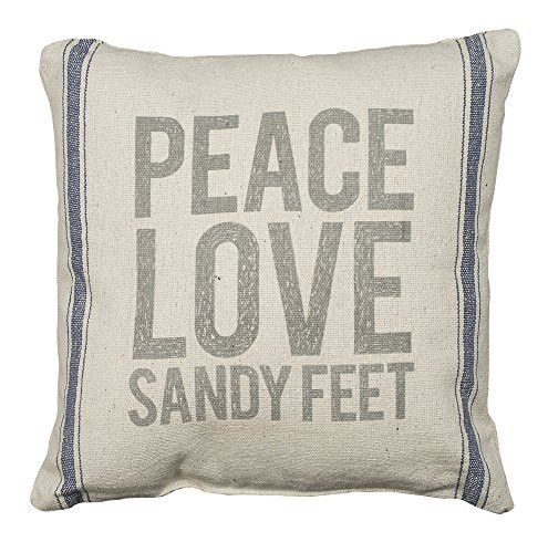 PEACE, LOVE, SANDY FEET - Coastal Decor Pillow - Canvas with Blue Stripes 15-in