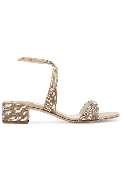 0997179448ea René Caovilla - Krisabrita Crystal-embellished Metallic Leather Sandals -  Gold